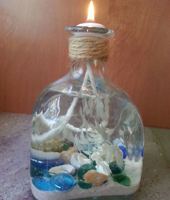 s 30 coastal style decor ideas perfect your home, Create A Candle Filled With Sand