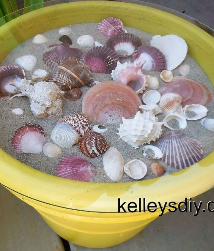 s 30 coastal style decor ideas perfect your home, Make An Outdoor Seashell Table