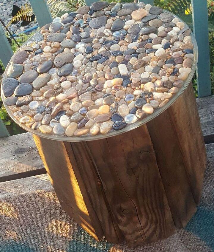 pebble topped five gallon bucket table