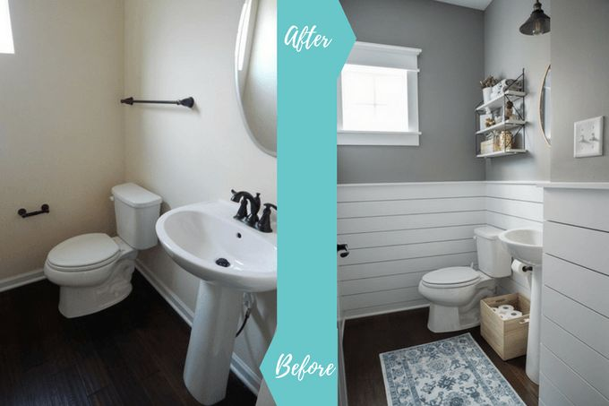 fresh and modern powder room makeover