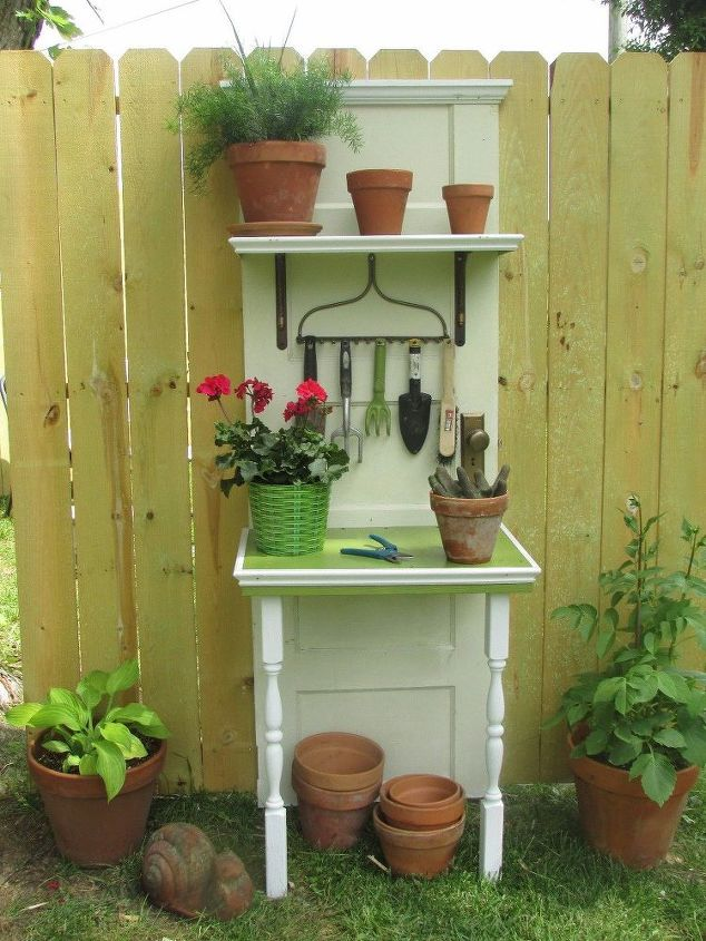 potting station made out of a door