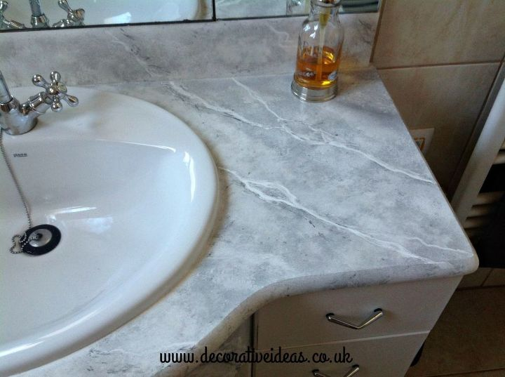 Faux Marble Bathroom Countertops. How To Faux Marble Your Bathroom Countertop After