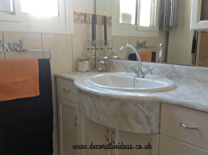 How to faux marble your bathroom countertop hometalk - Faux marble bathroom countertops ...