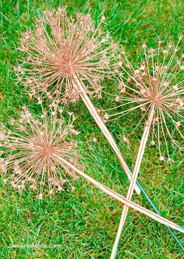 s 30 stunning ways to use metallic paint no experience necessary, Coat Allium Flowers In Copper For The Garden