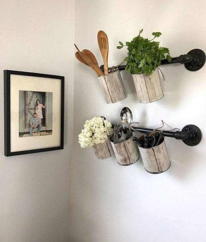 s 10 super simple ways to upcycle items in your home for storage, Craft Hangers For Herbs With Cans