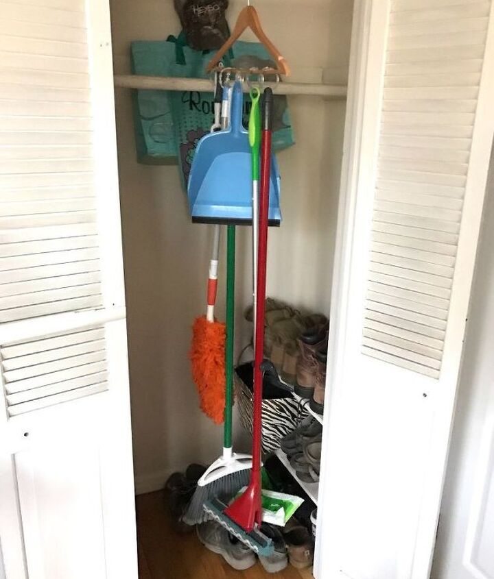 s 10 fun space saving hacks to keep you clutter free, Hang Your Cleaning Tools In A Closet