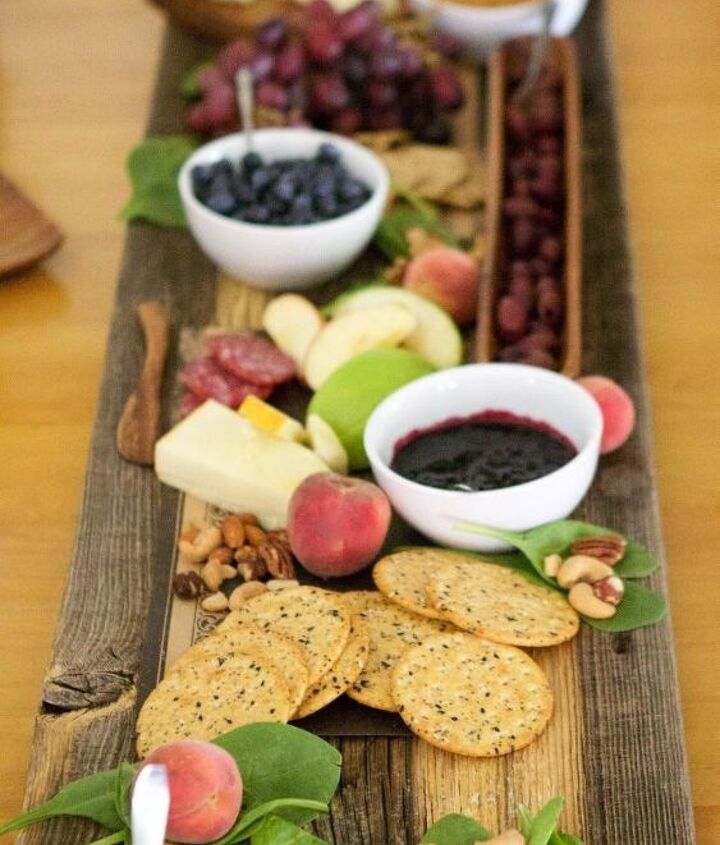 repurposed barn wood meat and cheese serving tray for entertaining