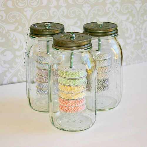 s 10 lovely ways to include mason jars to your home decor, Roll Up Your Craft Room Twine With A Jar