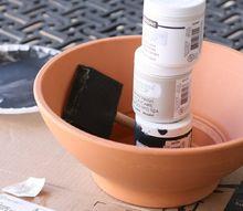 turn a terra cotta pot into a modern succulent cement planter