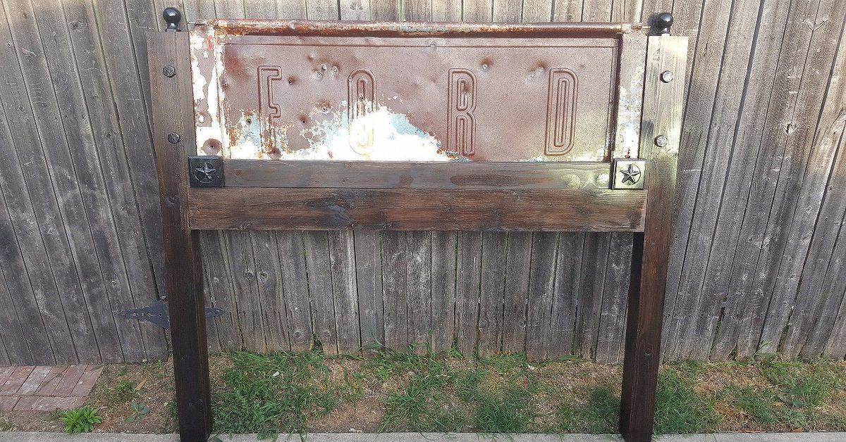 Queen Size Headboard Made Using A Tailgate From A 1930s