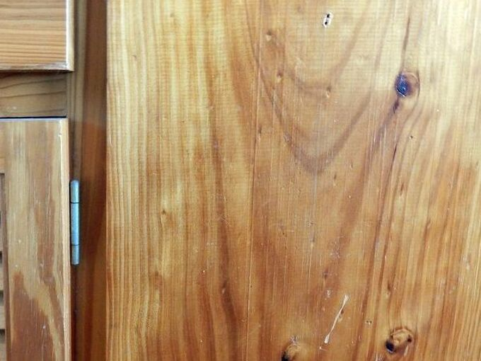 eliminating scratches and blemishes from wooden cabinet and furniture, A pine cabinet has been scratched and dented