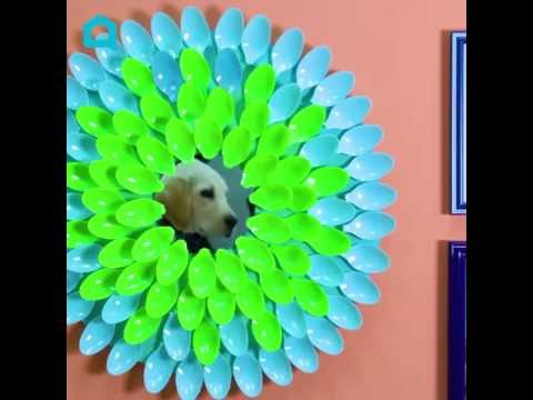 s 10 different ways to beautify your drab mirror, Texturize A Mirror With Plastic Spoons