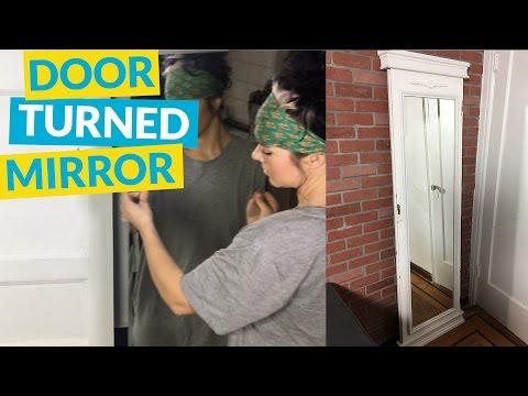 s 10 different ways to beautify your drab mirror, Remodel An Old Door With A New Mirror