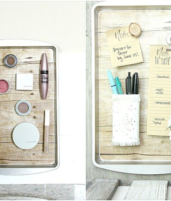 magnetic organizing with dollar store cookie sheets