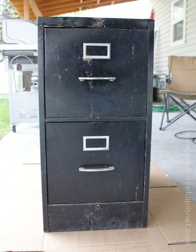 old file cabinet to classy fabric storage