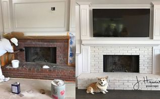 fireplace makeovers going white, Lime Painted Brick Fireplace Makeover
