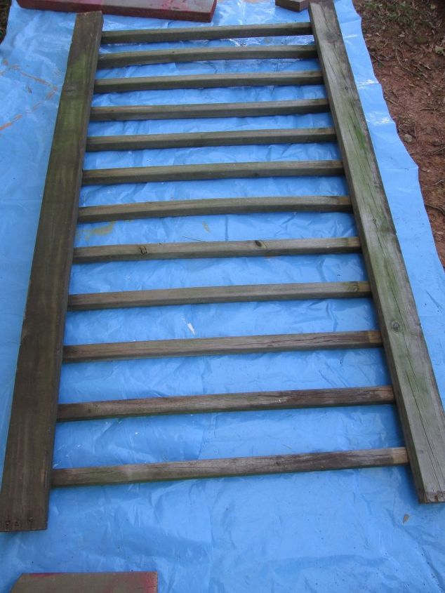 old deck railing for garden storage