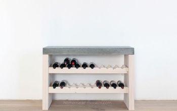 diy wine bar with concrete countertop