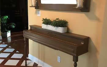 once a piano now console table mirror