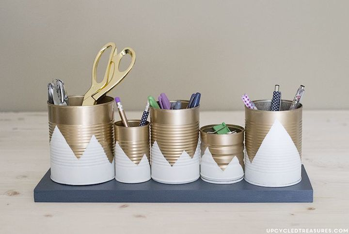 s 30 fun ways to keep your home organized, Craft Tin Cans Into Pencil Holders With Spray