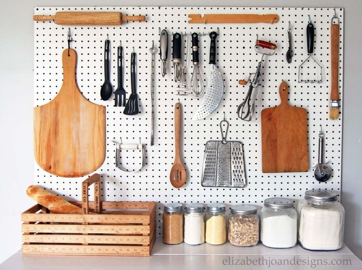 s 30 fun ways to keep your home organized, Build A Pegboard For A Clean Kitchen