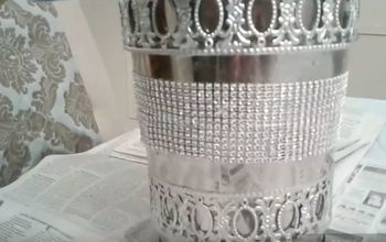 elegant diy embellished trash can