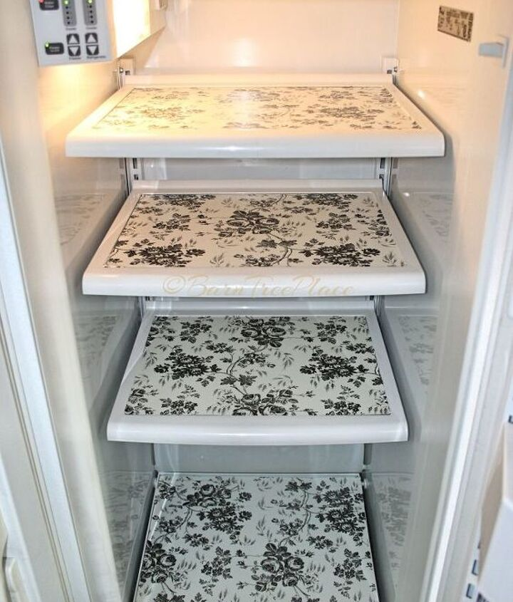 s 31 astounding things you didn t know you could do with contact paper, Give the inside of your fridge some design