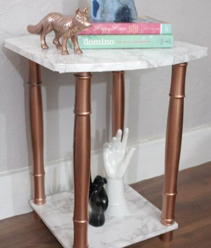 s 31 astounding things you didn t know you could do with contact paper, Turn your old side table into a chic stand
