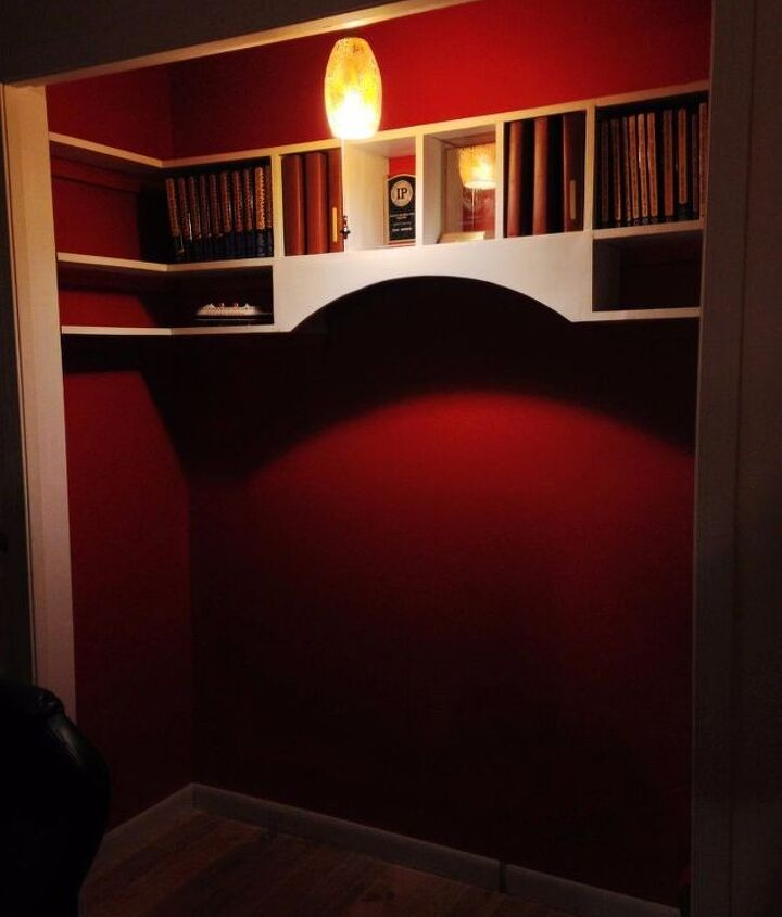 old closet becomes a reading nook with built in bench