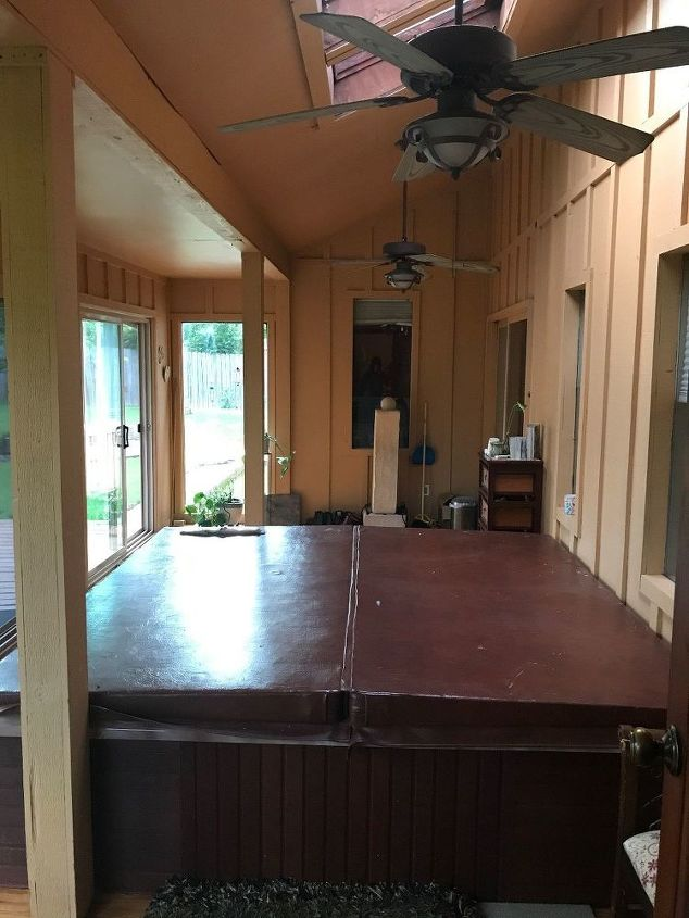 q any ideas of what to put in place of a large hot tub in our sunroom