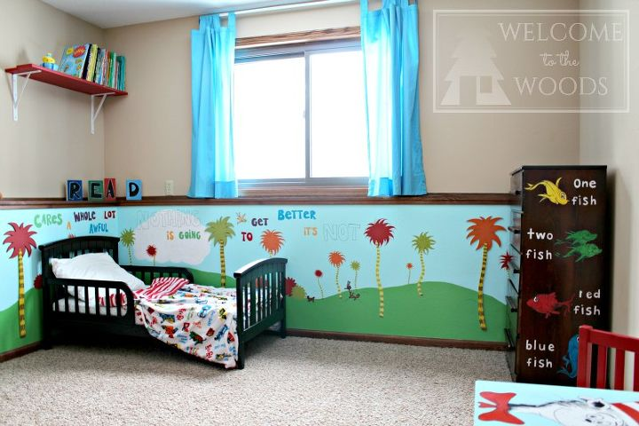 s 15 makeovers that will make you rethink your bedroom, Make A Seussical Wondeland In A Child s Room