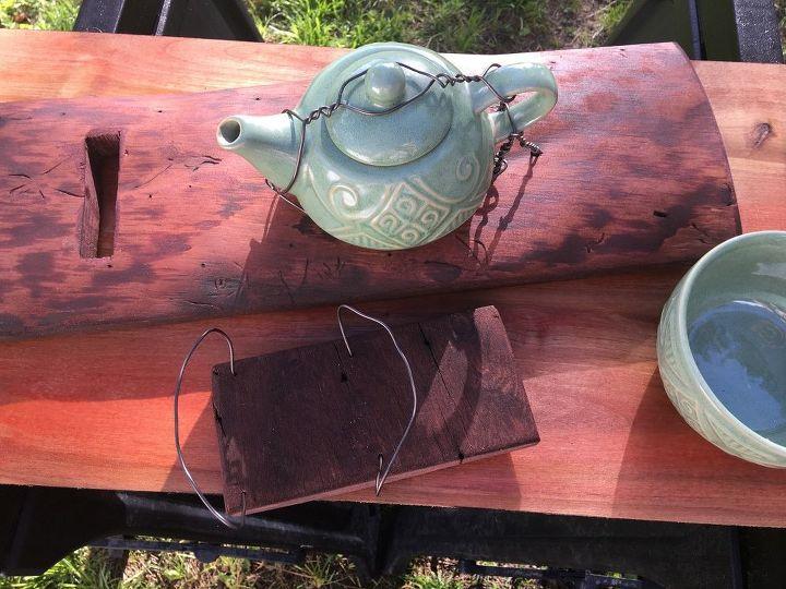teapot and barn wood bird feeder