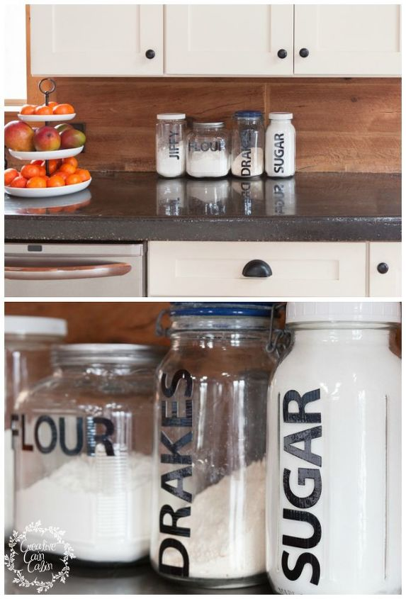 s 15 organizing hacks to help clean up your kitchen, Label Jars With Vinyl Letters