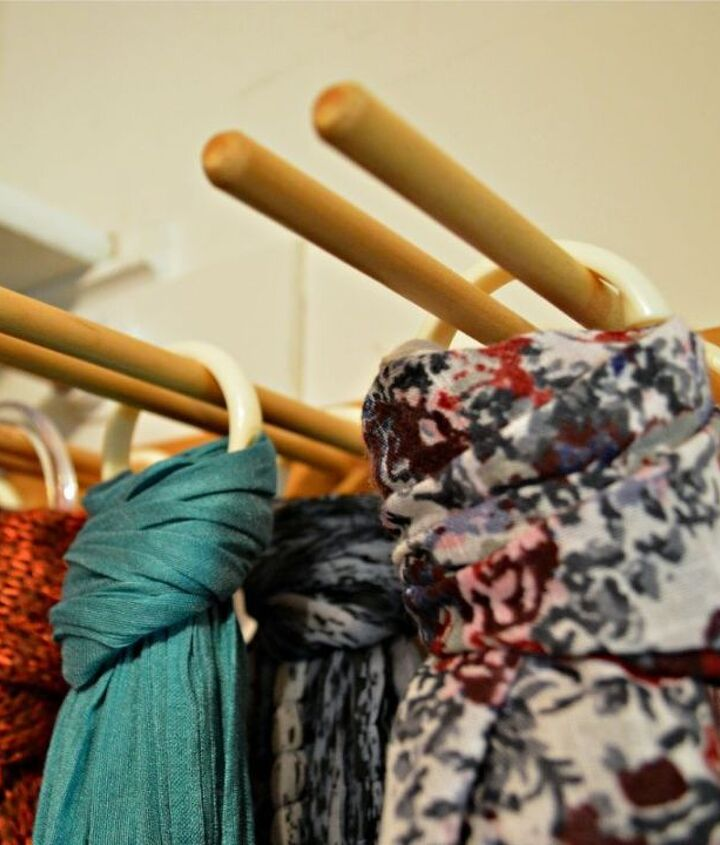 s 23 surprising uses for curtain rings, Hang each scarf in the neatest way