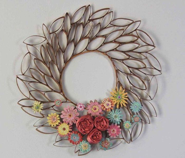 s 31 fabulous wreath ideas that will make your neighbors smile, Don t Toss Those Toilet Paper Rolls