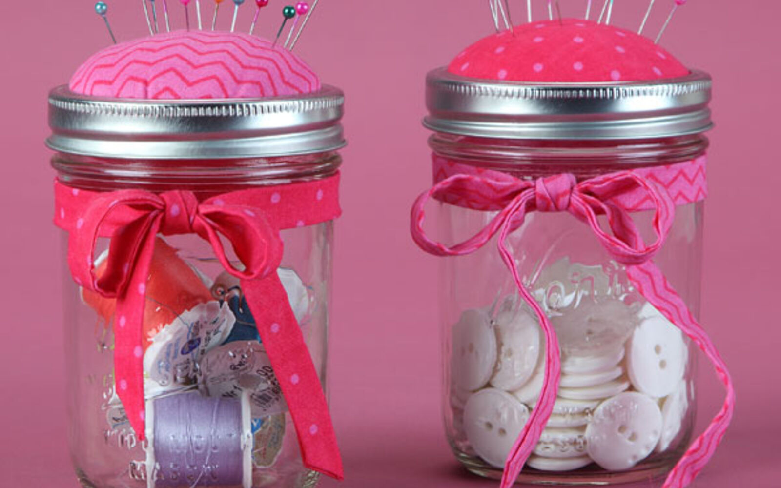 s 30 great mason jar ideas you have to try, Darling Sewing Kit Pin Cushion Lid
