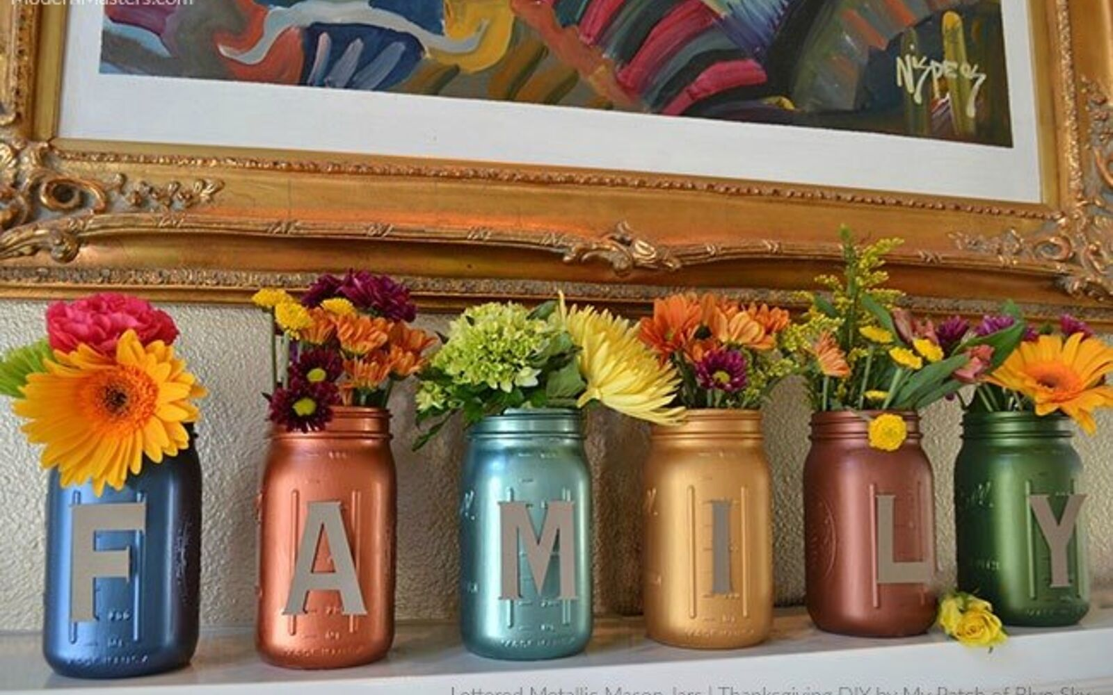 s 30 great mason jar ideas you have to try, Gorgeous Metallic Mantle Sign