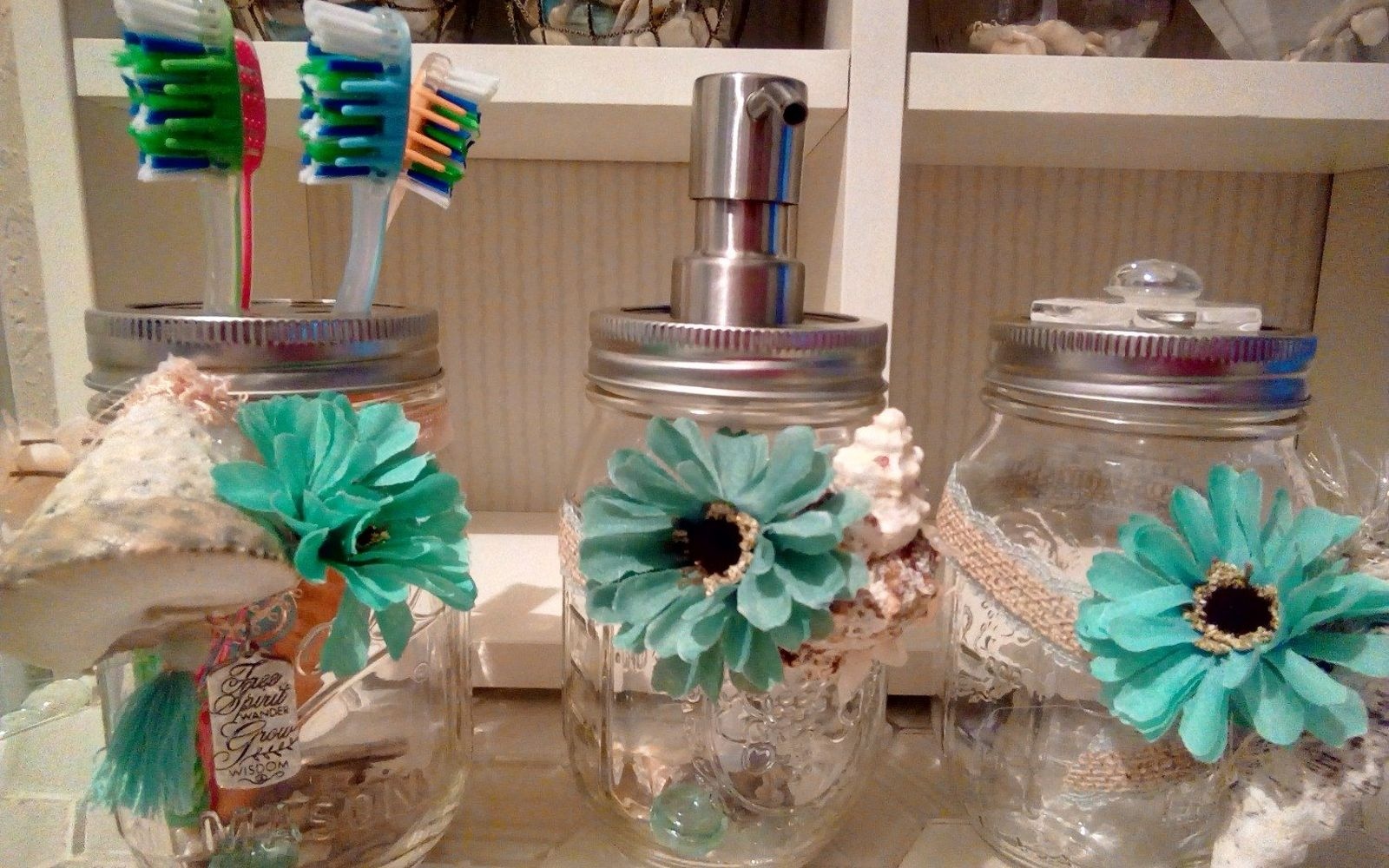 s 30 great mason jar ideas you have to try, Coastal Bathroom Container