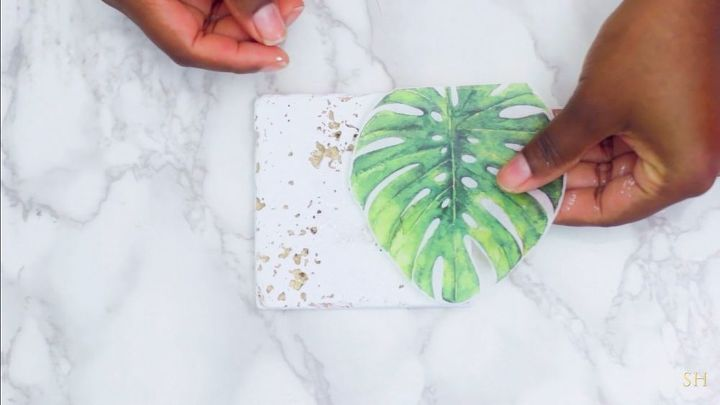 palm leaf tile coasters