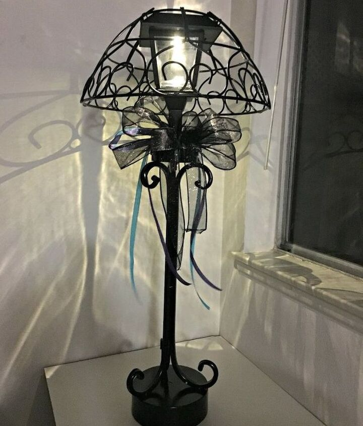 s 16 gorgeous ways to transform your blah lamp, Build A Solar Lamp With A Plant Basket