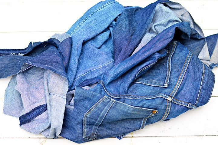 how to upcycle old jeans to make unique patchwork seat pads
