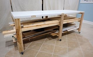 rolling work storage table from an old door