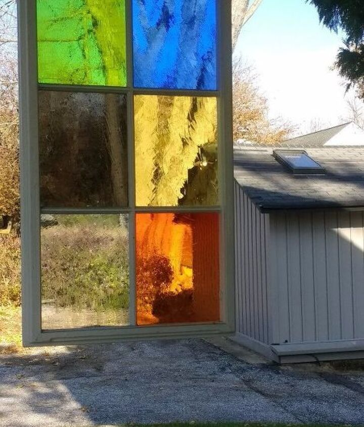s 30 ways to get privacy inside and outside your home, Hang up some stained glass panels