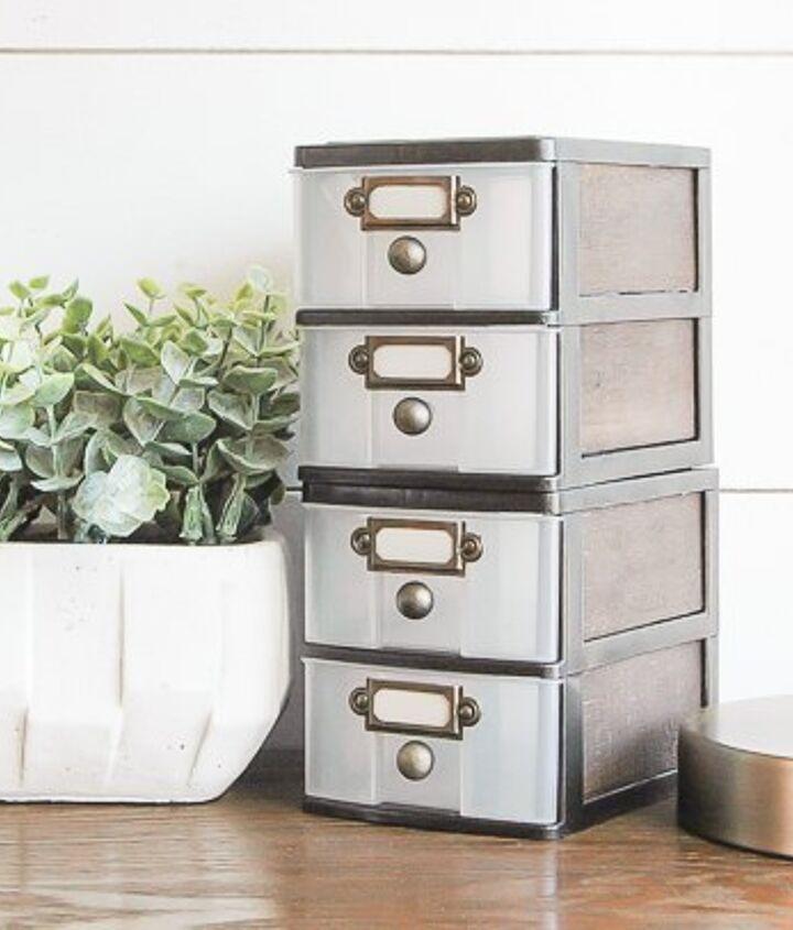 s 33 space saving storage ideas that ll keep your home organized, Turn plastic bins into farmhouse decor