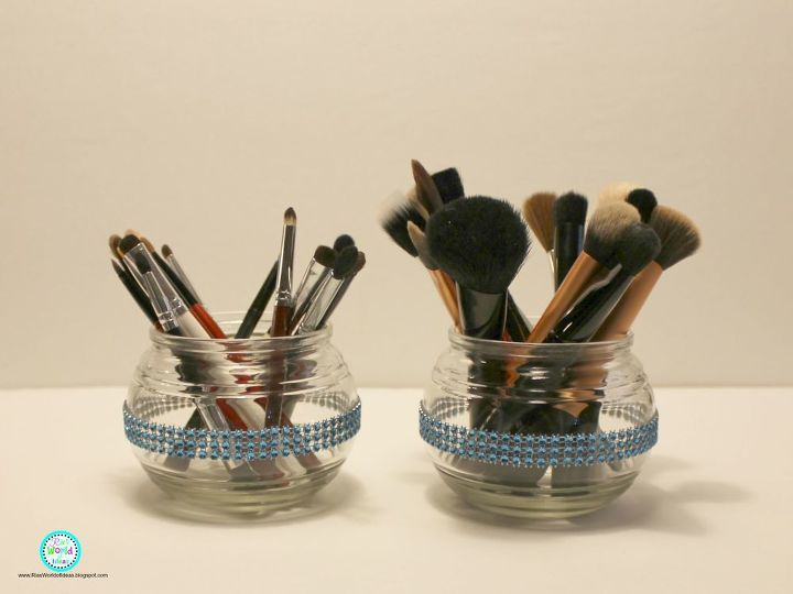 s 33 space saving storage ideas that ll keep your home organized, Use apothecary jars for makeup brushes