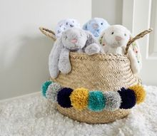 create customized designer storage, tidy pompom belly basket