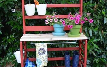 repurposed toddler bed becomes a diy potting bench trash to treasure