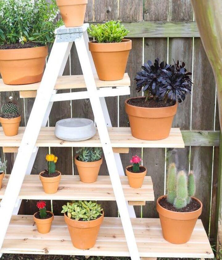 diy ladder plant stand