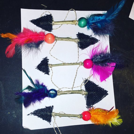 rustic feathered arrow ornaments