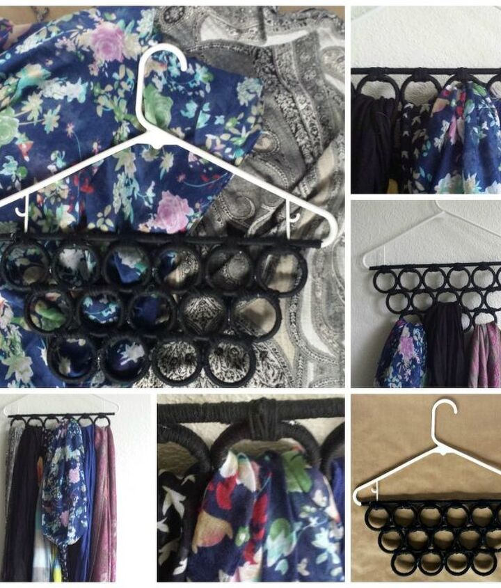 s 30 genius ways to make the most of your closet space, Glue shower curtain rings for a scarf hanger